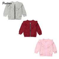 chaqueta con volantes para niños al por mayor-2019 Marca Kid Baby Girl Coat Infant Winter Spring Warm Ruffle Coat abrigos Cremallera Chaqueta Sólida Tops Nueva Princesa Ropa 0-5Y