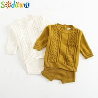 Wholesale kids modelling short clothes for sale - Group buy Sodawn Autumn Winter Models Baby Girls Boy Clothes Cotton Knit Suit Long Sleeved Hollow Shirt Shorts Kids Sweater Set Y200323