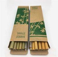ingrosso insieme di eco di bambù-Bamboo Utile Cannucce riutilizzabile Partito Kitchen + spazzola pulita 13pcs / set cucina utile strumento di 2 colori 4928