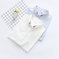Wholesale led dolls resale online - White Short Sleeve Chiffon Shirt Woman Summer Wear New Pattern Korean A Doll Lead Embroidered Easy Ruffle tops tee