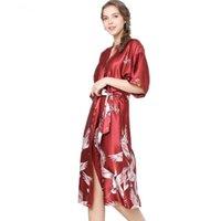 eis seide hochzeit großhandel-Silk Satin Hochzeit Braut Brautjungfer Robe Floral Nachthemd Frauen Mid-Sleeve Lange Ice Silk Bademäntel Dünne Plus Size Homewear