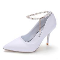 Kaufen Sie im Großhandel Weiße Perle Knöchelriemen High