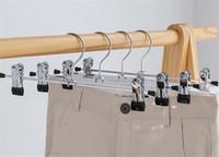 elbise askıları için klipsler toptan satış-Yeni Giyim Için Giysi Askıları Paslanmaz Çelik Klip Standı Askı Pantolon Etek Çocuk Giysileri Ayarlanabilir Tutam Kavrama