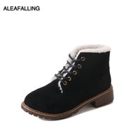 Wholesale cute lace up ankle boots for sale - Group buy Aleafalling Women Boots Ankle Lace Up Platform Cute Simple Smart Shoes Girl s Leather Warm Plush Winter Autumn Boots WBT261