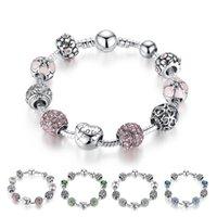 brins de bracelet pandora achat en gros de-Argent fin tibétain Perles Bracelet Pandora breloques en verre Perles Bracelet rose blanc bricolage perles Brins Bleu Vert 4 Couleurs en option