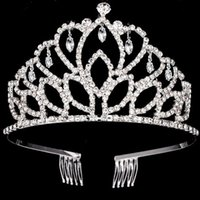 Wholesale dinner jewelry for sale - Group buy Bridal Tiara Jewelry Big Crown Wedding Dinner Hair Accessories Rhinestone Headband Wedding Accessories Silver Crown