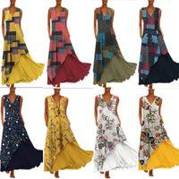 yard langdruck großhandel-Beachwear Tunika für den Strand Sarongs Coverup Sommerkleid 2019 Kleider Spot 14 Farbe 8 Yard New Pendulum Printed Pocket Long