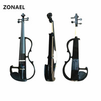 Wholesale musical instruments violins resale online - 4 Electric Acoustic Violin Basswood Fiddle with Violin Case Cover Bow for Musical Stringed Instrument Lovers Beginners