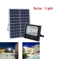 luz de inundación ip67 al por mayor-Luces de inundación de calle con energía solar 60W 100W Proyector solar LED con control remoto Iluminación de seguridad para el camino del canal del jardín de la yarda