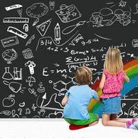 papel autocolante para giz venda por atacado-Removível Rolo De Papel Quadro Auto-Adesivo Blackboard Adesivo para Home School Office Adesivos De Parede Papel Adesivo - Cor Sólida