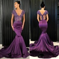 Wholesale plus size maternity tops online - Sexy Grape Purple Prom Dresses V Neck Lace Satin Mermaid Evening Gowns See Through Top Cap Sleeve Formal Party Dress Custom Made