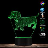 ingrosso cani leggeri-Carino Temperamento astratta Bassotto Cane con nome a 3D Optical Illusion d'ardore della lampada LED Pet Lover regalo illuminazione Proprietario