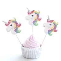 Wholesale wedding shower cupcake cake resale online - 24Pcs Cute Unicorn Cupcake Topper Pick Wedding Decoration Baby Shower Birthday Party Supplies Cake Baking Party Decoration