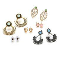 Wholesale ear studs sets for sale - Group buy Leaf Flower Earring Sets Vintage Ear Studs Set Bohemian Stud Earrings for Women Girls Beach Holiday Wedding Jewelry Gift Cheap