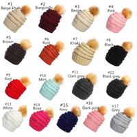 kadınlar için rahat şapka toptan satış-Ponpon Beanie şapka Yün Kravat Topu Örme Özelleştirilmiş Logo Caps Moda Kızlar kadınlar Kış Sıcak Şapka Örgü Kasketleri Şapka Rahat Bonnet 17 Renkler