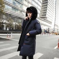 casacos de coleira de pele para homens venda por atacado-Jacket New Men Inverno Mens Além disso capuz acolchoado Masculino Quente Casual velo gola de pele Brasão 3XL alta qualidade para as mulheres Parkas Cold Winter