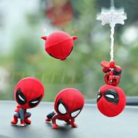 acessórios de decoração de carro venda por atacado-Carro Dos Desenhos Animados Modelo Spiderman Shake Cabeça Toy Resina Ímã Ornamento Auto Interior Decoração Boneca Móveis Acessórios Presente Guarnição