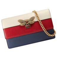 königin taschen großhandel-Echtes Leder Frauen Designer Brieftasche Königin Margaret Berühmte Marke Biene Taschen Damen Kette Umhängetaschen Luxus Weibliche Dreifarbige Handtasche