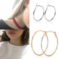 Wholesale big sexy jewelry resale online - 30 MM Big Sexy Hoop Earrings for Women Simple Exaggerated Hoop Loop Smooth Round Female Ear Jewelry Girl Gifts