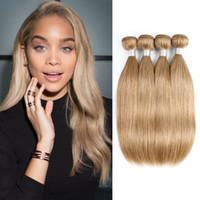 Wholesale human hair weave honey brown online - Honey Blonde Human Hair Weave Bundles Malaysian virgin Brown Straight Hair or Bundles Inch Remy Human Hair Extensions