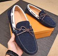 zapatos de cuero para hombre a pie al por mayor-Nuevo Louise Mocasines para hombre Casual Walk mocasín-gommino Impermeable Suede Leather Elastic band Business Shoes EU38-45