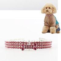 Wholesale rhinestone dog collar small resale online - Pet Collar Colorful Elastic diamond Dog Collar Bling Rhinestone Bones Puppy Necklace Small Medium Dogs Cat Jewelry accessories CLS627