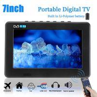 Wholesale dc mp3 player resale online - 7 Inch Digital Television Portable TV HD P TFT LED DVB T2 V Player MP4 MP3 USB AC DC