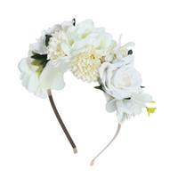 guirnaldas de pelo accesorio al por mayor-Haimeikang tela pelo flor corona diadema Boho novia floral corona en la cabeza de la boda Hairband para mujeres accesorios para el cabello