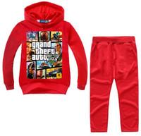 robo de auto al por mayor-2-14Y Grand Theft Auto Gta V 5 Ropa para niños Conjunto de sudaderas con capucha + Pantalones Conjunto Ropa para niños pequeños Niños Chándal Traje de traje de deporte