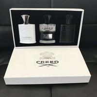 parfums pour hommes achat en gros de-Nouveau Creed Men Fragrance Set 30 ML * 3 pcs Portable Parfum kits longue durée gentleman parfum définit incroyable odeur Livraison Gratuite