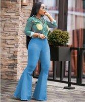 jambe boutons jeans achat en gros de-Jeans large à la mode pour femmes Big Bell Bottom Pants Retro Denim Femme Vêtements Bouton Casual Vêtements