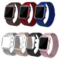 Wholesale metal case watches resale online - Magnetic Loop Metal Band Bumper Case For Apple Watch Wristband Stainless Steel Watch Bracelet Mesh Strap Replacement mm mm mm mm