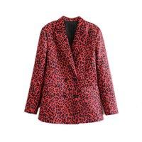 jaqueta de leopardo vermelho venda por atacado-Mulheres Animal Print Leopard Red Blazer Jacket Brasão Abotoamento com bolsos manga comprida Casacos Office Lady Y190925 Wear elegante