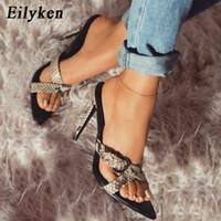 leopar topuklu sandaletler toptan satış-Eilyken Yaz Kadın Terlik Seks Leopar tane Stiletto Ayakkabı Sandal Kadın Ince Topuklu Tokalar Sivri Burun Bayanlar Yaz Ayakkabı