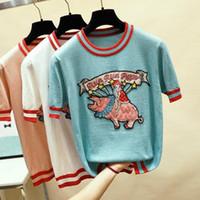 camisolas bordadas senhoras venda por atacado-Porco Bordado De Malha camisa Mulheres Encabeça Pullovers Femininos 2019 Verão de Manga Curta Blusas Senhoras Roupas Rosa Branco Azul