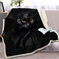 katzen quilts großhandel-HM Leben Decke für Wohnzimmer-Sofa Black Cat 3D-Tierdrucktuch reizende Haustier-Warm Sherpa Fleece Thin Quilt für Betten