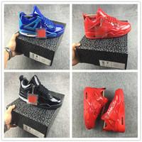 ingrosso pelle vernice blu-Scarpe da basket in pelle verniciata 4s 2019 Designer Rosso Blu Nero Moda uomo Look sportivo Sneakers Trainer Taglia 7-13
