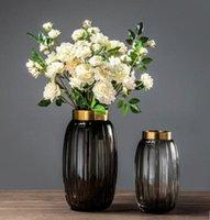 florero flores decoracion salon al por mayor-Nordic transparente florero europeo creativo suave decoraciones sala de estar inserta florero modelo flor seca conjunto de decoración