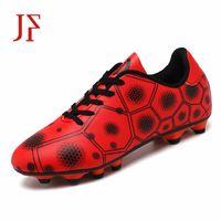 espigas de fútbol sala al por mayor-JF Zapatos de hombre botas de fútbol antideslizantes zapatos de tubo largo TF picos zapatillas altas suave césped de interior