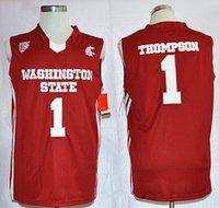 chemise de basket rouge achat en gros de-NCAA Mens Vintage État de Washington Cougars Klay 1 Thompson College Maillots De Basket-ball Pas Cher Rouge Klay # 1 Thompson Chemises Cousues