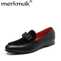 ботинки оптовых-merkmak Spring Autumn Men Formal Wedding Shoes  Men Business Dress Bow Shoes Loafers Pointy Big Size 37-48