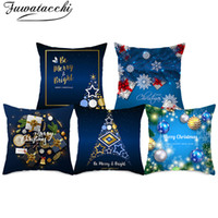 Wholesale light pink chair covers resale online - Fuwatacchi Dark Blue Christmas Decorative Cushion Cover Nordic Diamond Style Pillowcase Polyester Home Sofa Chair Pillow Covers