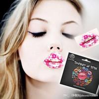 ingrosso tatuagem 3d-Autoadesivi impermeabili del labbro del tatuaggio temporaneo 3D disegno rosso sexy dell'argento dell'oro del fiore di trasferimento istantaneo Tatuagem trucco delle donne Nuovo