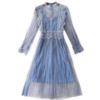 arneses de gasa al por mayor-Nuevo vestido de gasa de encaje de flores de hadas azul plisado 2019 primavera otoño mujeres arnés elegante conjuntos de dos piezas de encaje vestidos Re0292