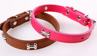 Wholesale choker collars for dogs resale online - 2019 Bone Pet Dog Collar PU Leather Adjustable Collar For Puppy Little Pet Cat Strap Choker Collar Necklace
