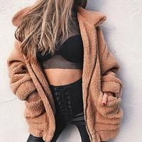 büyük boy kürk mantolar toptan satış-Sıcak Kadınlar Faux Kürk Lambswool Boy Ceket Kaban Kış Siyah Sıcak Hairly Ceket Kadın Sonbahar Bayanlar Giyim Kadın Palto