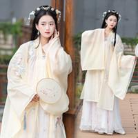 ethnische kostüm frauen großhandel-Hanfu Für Frauen Cosplay Chinese Fairy White Dance Kostüm Verbesserte Hanfu Ethnische Kleidung Weiß Bühnenkostüme BL1243