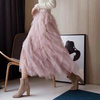 elegantes faldas hasta los tobillos al por mayor-Faldas de malla asimétrica para las mujeres Cintura alta Longitud del tobillo Faldas Mujer elegante moda coreana 2019 Ropa Nueva