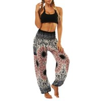 Wholesale womens baggy dance trousers for sale - Group buy Womens Smocked Waist Wide Leg Loose Harem Yoga Palazzo Pants Ethnic Floral Beach Belly Dance Baggy Lantern Trousers With Pockets