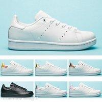 zebra stripe flat shoes venda por atacado-Nova qualidade superior das mulheres dos homens stan designer sapatos moda tarja smith ouro verde branco zebra esporte de couro clássico apartamentos sapatilhas sapatos casuais